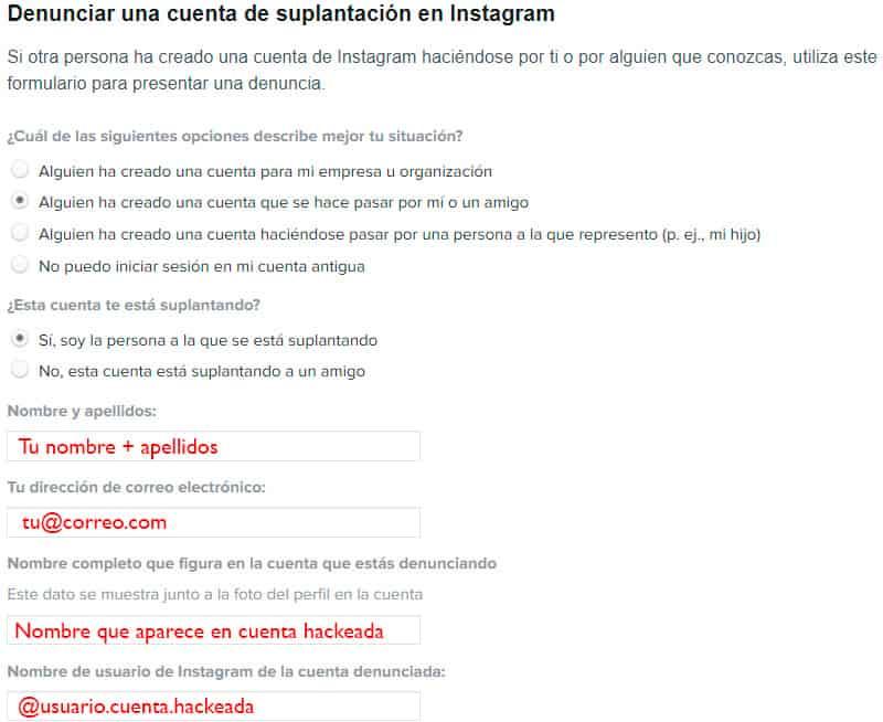 Recuperar cuenta instagram pirateada - Formulario de ayuda